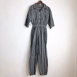 Vintage jumpsuit gray striped overall -10 cotton